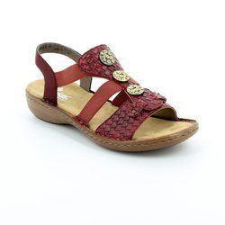 Rieker Sandals - Red - 608B4-35 REGIWEAVE