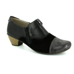 Rieker Heeled Shoes - Black suede or snake - 41781-00 SARCAZ