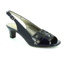 Lotus Heeled Shoes - Navy patent - 5050/70 ZABRY