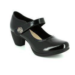 Heavenly Feet Heeled Shoes - Black patent - 7011/40 PINE