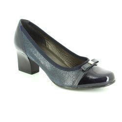 Alpina Court Shoes - Navy patent-suede - 8239/5 PIA