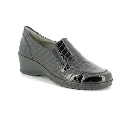 977cf2e3677f Ara Cremona Wide 17363-77 Black croc Wedge Shoes
