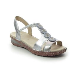 Ara Comfortable Sandals - Silver Leather - 27217/76 HAWAII BEADS 01