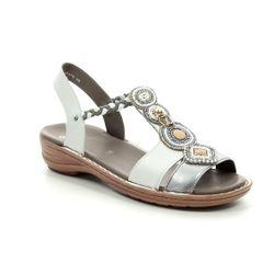 Ara Comfortable Sandals - White-silver - 37275/05 HAWAII BEADS