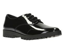Clarks Girls Shoes - Black patent - 2357/06F AGNES MAY BL