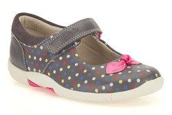 Clarks Girls Shoes - Grey muti - 5878/16F BINNIE DOTS IN