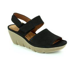 Clarks Comfortable Sandals - Black nubuck - 2428/04D CLARENE ALLURE