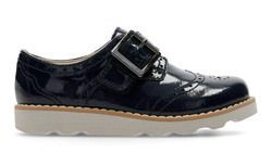 Clarks Girls Shoes - Navy patent - 3578/06F CROWN PRIDE INF