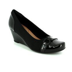 Clarks Wedge Shoes  - Black - 2846/94D FLORES POPPY