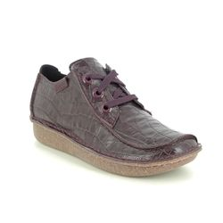 Clarks Comfort Lacing Shoes - Burgundy - 510684D FUNNY DREAM