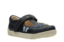 Clarks Girls Shoes - Navy - 2364/37G LILFOLK FLO INF