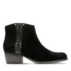 Clarks Ankle Boots - Black Suede - 3632/74D MAYPEARL FAWN