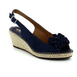 Clarks Wedge Sandals - Navy suede - 2422/14D PETRINA BIANCA