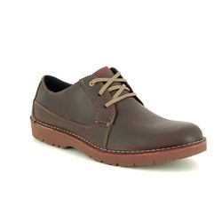 Clarks Casual Shoes - Brown leather - 3667/57G VARGO PLAIN