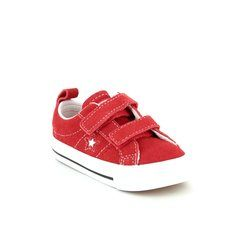 Converse Girls Trainers - Red multi - 756133C/600 One Star 2V OX Velcro