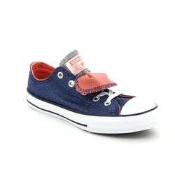 Converse Girls Trainers - Navy - 658112C Chuck Taylor All Star Double Tongue OX