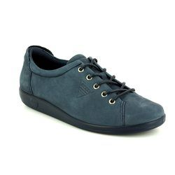 ECCO Comfort Lacing Shoes - Navy nubuck - 206503/02038 SOFT 2.0