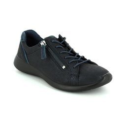 ECCO Comfort Lacing Shoes - Navy patent-suede - 283073/53579 SOFT 5