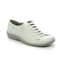Flex and Go Comfort Lacing Shoes - White Leather - SH065002 CINDORS