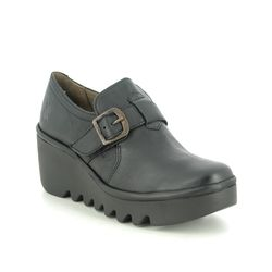 Fly London Wedge Shoes  - Black leather - P501242 BELK