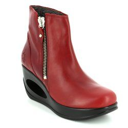 Fly London Wedge Boots - Red - P143795 HULK 795