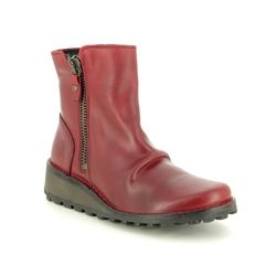 Fly London Fashion Ankle Boots - Red leather - P210944 MON