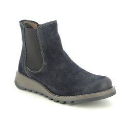 Fly London Chelsea Boots - Navy Suede - P143195 SALV