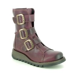 Fly London Boots - Ankle - Purple Leather - P144110 SCOP