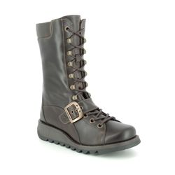 Fly London Knee High Boots - Brown leather - P144526 SELU