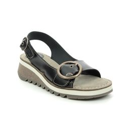 Fly London Wedge Sandals - Black leather - P144589 TRAM 2