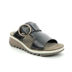 Fly London Wedge Sandals - Black leather - P144590 TUTE 2