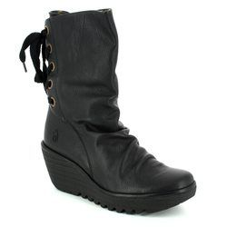 Fly London Wedge Boots - Black - P500596 YADA