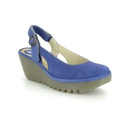 Fly London Wedge Shoes  - BLUE LEATHER - P500979 YLUX