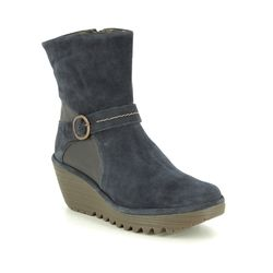 Fly London Wedge Boots - Navy Suede - P501083 YOME