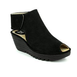 Fly London Wedge Sandals - Black suede - P500642 YONA