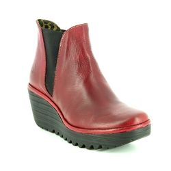 Fly London Ankle Boots - Red suede - P500431 YOSS