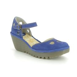 Fly London Wedge Shoes  - BLUE LEATHER - P500016 YUNA