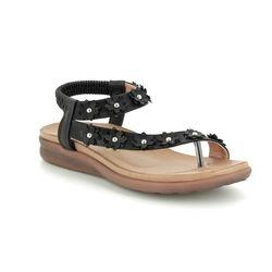 Heavenly Feet Flat Sandals - Black - 9111/30 ESME