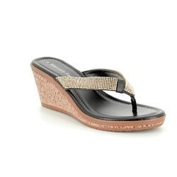 Heavenly Feet Wedge Sandals - Black - 8126/30 ESTHER 2