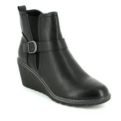 Heavenly Feet Wedge Boots - Black - 6003/30 FLEUR