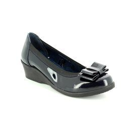 Heavenly Feet Heeled Shoes - Navy patent - 7204/70 MANHATTAN