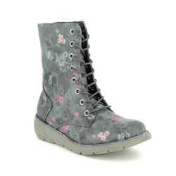 Heavenly Feet Lace Up Boots - Black floral - 0525/46 WALKER MARTINA