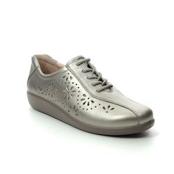 Hotter Comfort Lacing Shoes - Pewter - 0103/51 AVA    E FIT