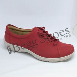 Hotter Comfort Lacing Shoes - Red nubuck - 7206/80 DEW E FIT