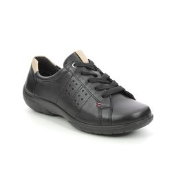 Hotter Comfort Lacing Shoes - Black leather - 7206/31 FEARNE WIDE DEW