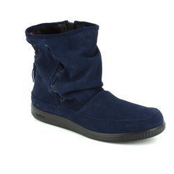 Hotter Boots - Ankle - Navy suede - 7204/70 PIXIE