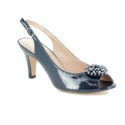 Lotus Heeled Shoes - Navy patent - 50827/70 ELODIE