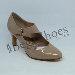 Lotus Heeled Shoes - Nude Patent - 50855/56 LAURANA