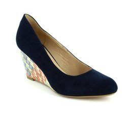Lotus Wedge Shoes  - Navy - 50823/70 TRINITY