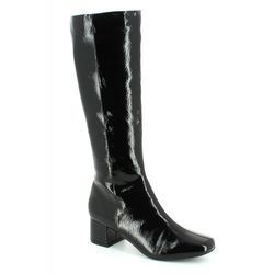 Lotus Knee High Boots - Black patent - 40414/40 VEZALLI